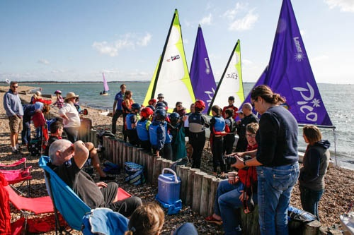 2nd Andover Sea Scouts on the beach at Calshot Sailing Club