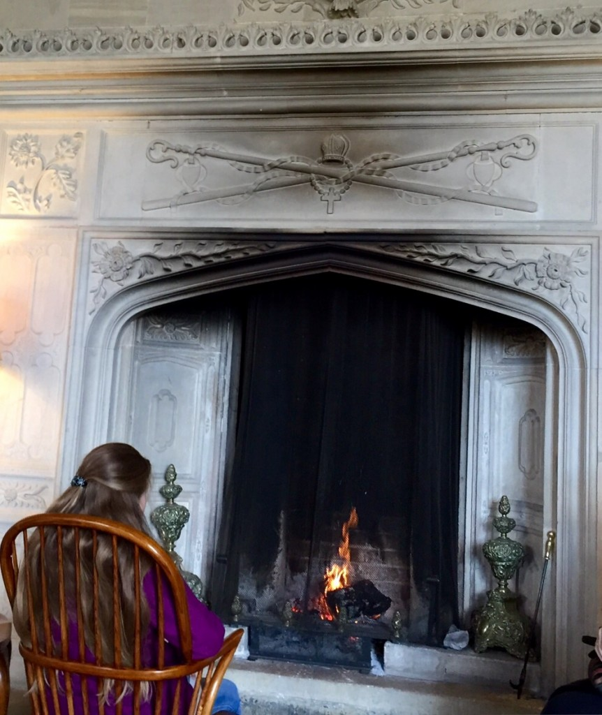 The Eldest in front of the fireplace in the Great Hall