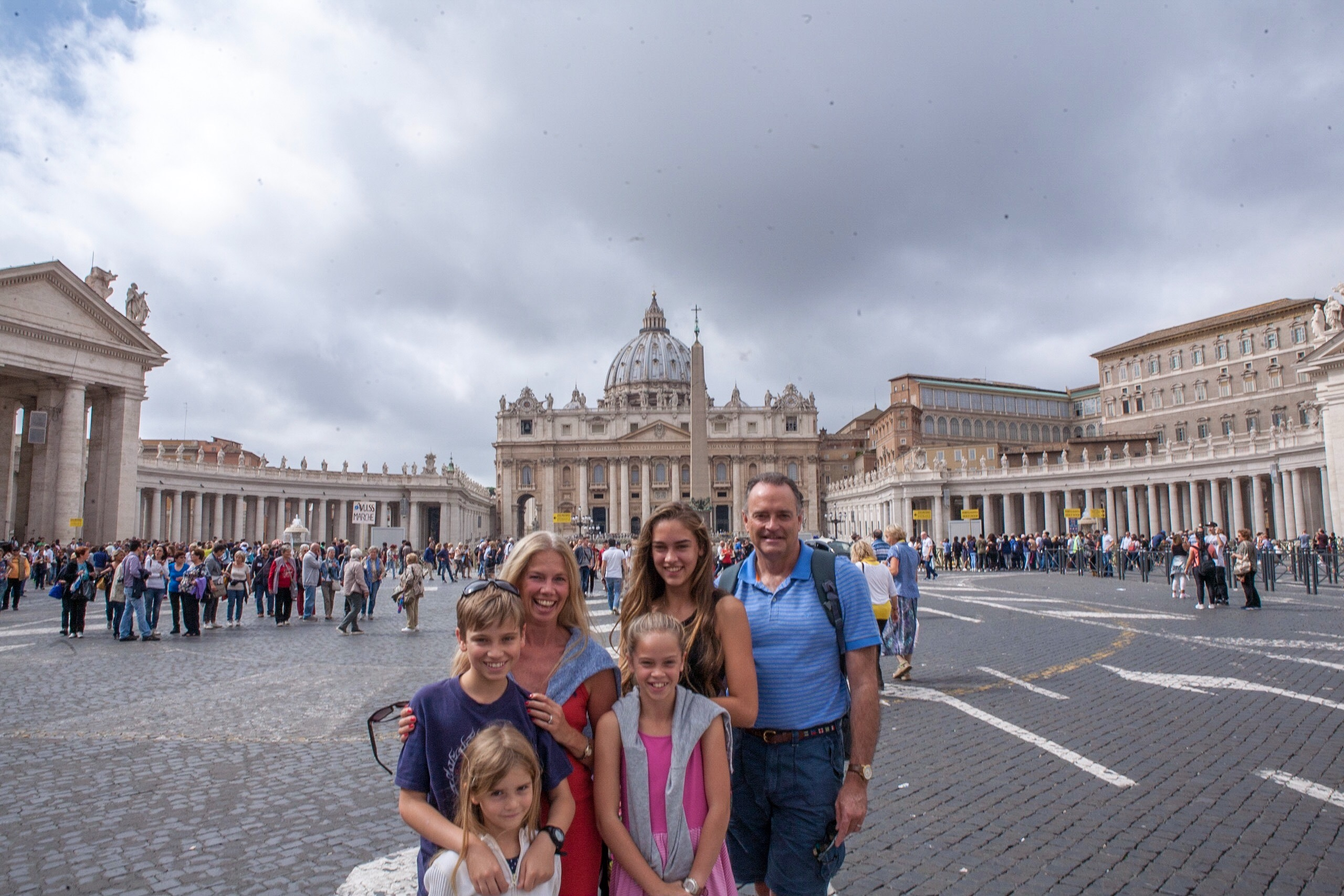 In St Peter's Square with the Vatican behind us